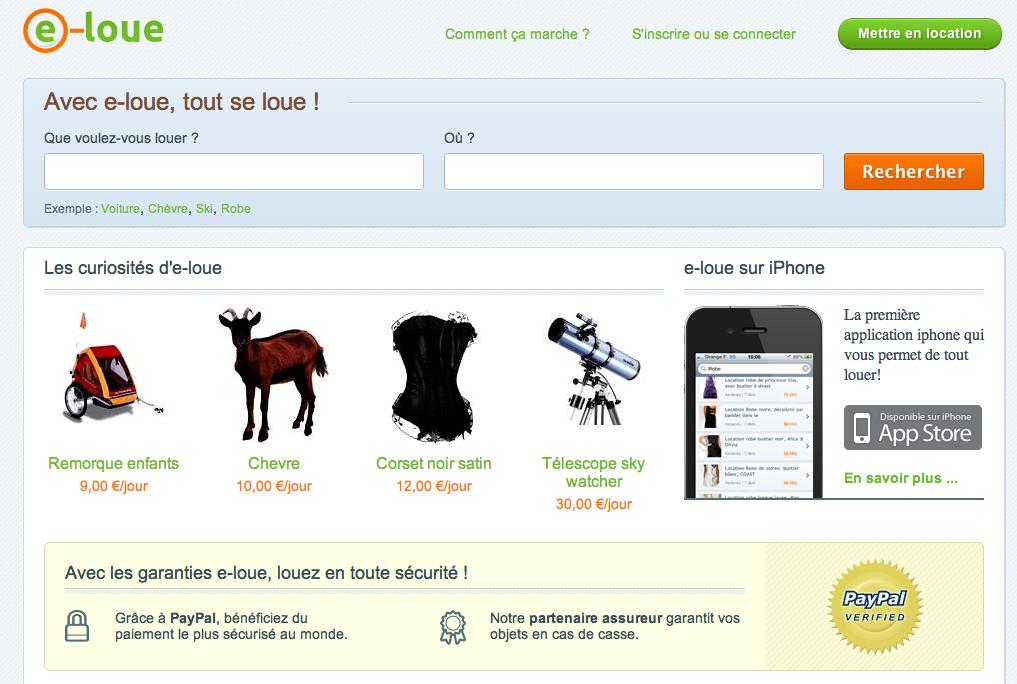 e-loue Homepage